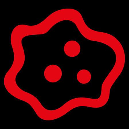 ameba: Icono de la trama de la ameba. El estilo es el símbolo plana, de color rojo, ángulos redondeados, fondo negro. Foto de archivo
