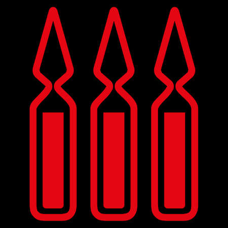 ampoules: Ampoules raster icon. Style is flat symbol, red color, rounded angles, black background. Stock Photo