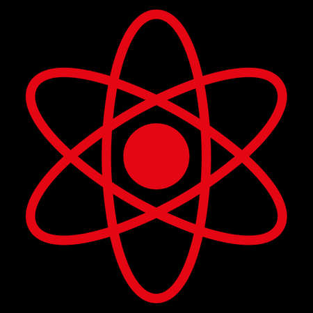 fission: Atom raster icon. Style is flat symbol, red color, rounded angles, black background.