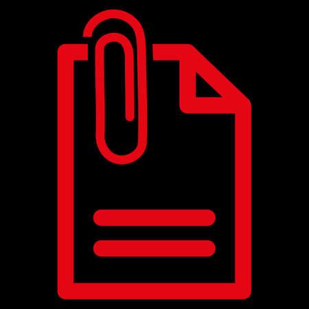adjuntar: Fije el icono de la trama del documento. El estilo es el s�mbolo plana, de color rojo, �ngulos redondeados, fondo negro.