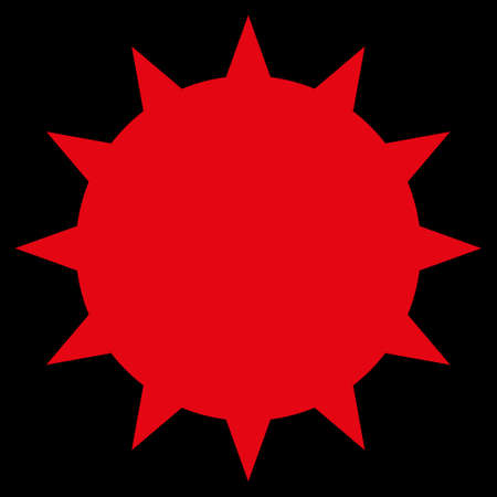 ameba: Icono trama Bacteria. El estilo es el símbolo plana, de color rojo, ángulos redondeados, fondo negro. Foto de archivo