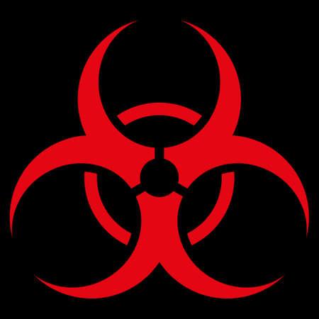 bio hazard: Bio Hazard raster icon. Style is flat symbol, red color, rounded angles, black background.