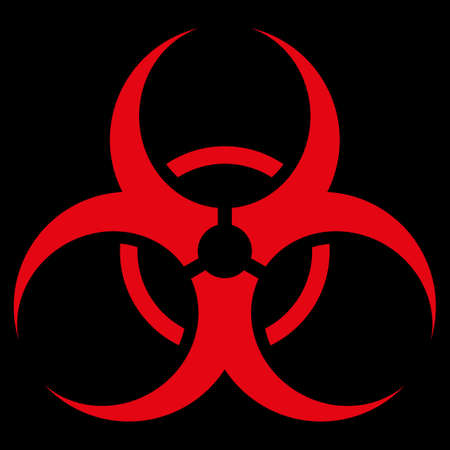 Biohazard Symbol raster icon. Style is flat symbol, red color, rounded angles, black background. Foto de archivo