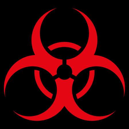 riesgo biologico: Icono trama Símbolo de riesgo biológico. El estilo es el símbolo plana, de color rojo, ángulos redondeados, fondo negro.
