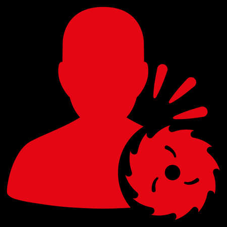 execution: Body Execution raster icon. Style is flat symbol, red color, rounded angles, black background.