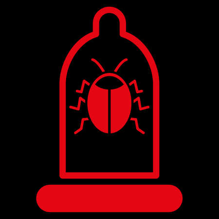 red condom: Bug Protection raster icon. Style is flat symbol, red color, rounded angles, black background.