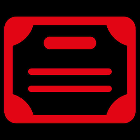 attest: Certificate raster icon. Style is flat symbol, red color, rounded angles, black background. Stock Photo
