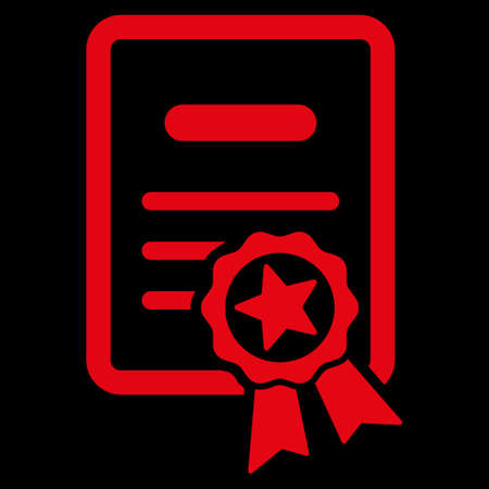 attest: Certified Diploma raster icon. Style is flat symbol, red color, rounded angles, black background.