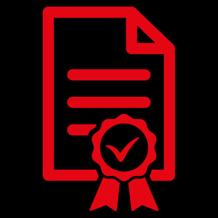 attest: Certified raster icon. Style is flat symbol, red color, rounded angles, black background.