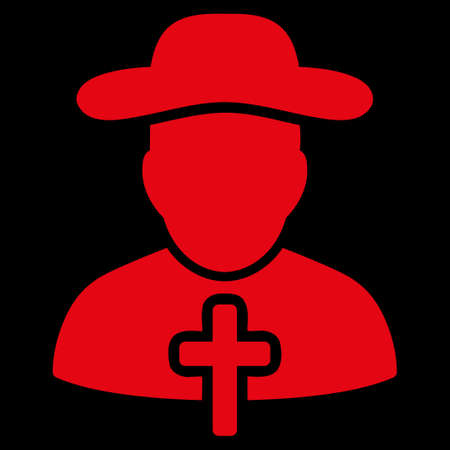 cleric: Cleric raster icon. Style is flat symbol, red color, rounded angles, black background.
