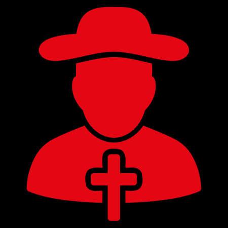 sotana: Icono trama Clérigo. El estilo es el símbolo plana, de color rojo, ángulos redondeados, fondo negro. Foto de archivo