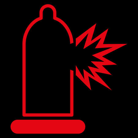 red condom: Condom Damage raster icon. Style is flat symbol, red color, rounded angles, black background. Stock Photo