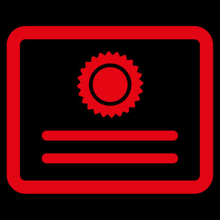 attest: Diploma raster icon. Style is flat symbol, red color, rounded angles, black background. Stock Photo