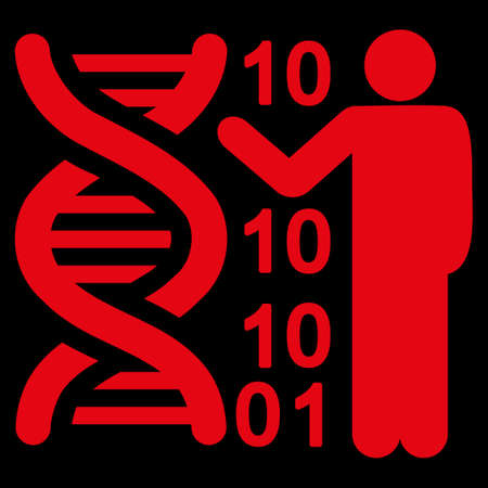 genom: Dna Code Report raster icon. Style is flat symbol, red color, rounded angles, black background.