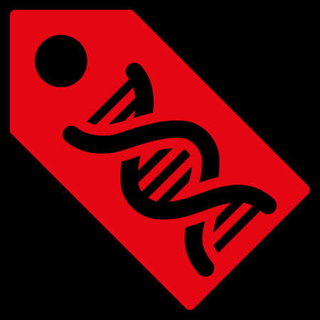 decode: Dna Marker raster icon. Style is flat symbol, red color, rounded angles, black background. Stock Photo