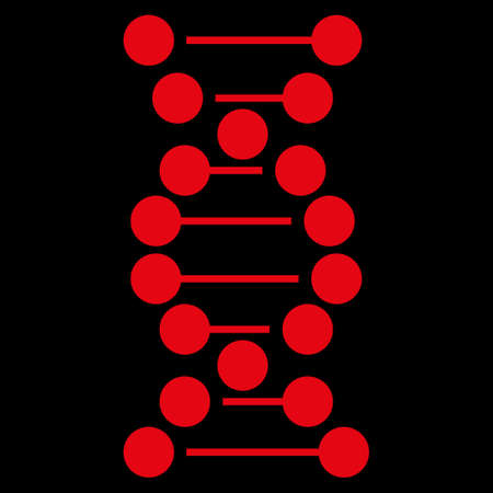 genom: Dna raster icon. Style is flat symbol, red color, rounded angles, black background.