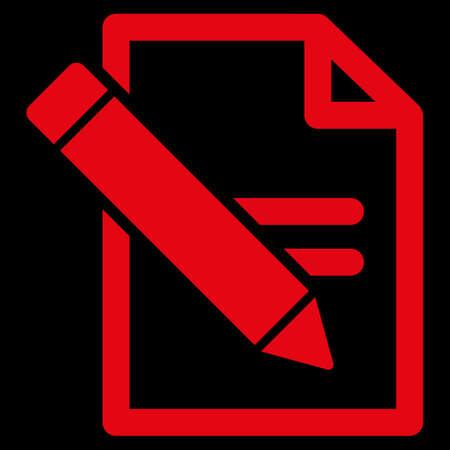 modificar: Editar Registros icono trama. El estilo es el símbolo plana, de color rojo, ángulos redondeados, fondo negro.