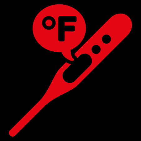 weather gauge: Fahrenheit Temperature raster icon. Style is flat symbol, red color, rounded angles, black background.