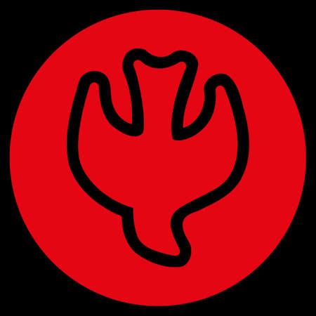 Falling Soul raster icon. Style is flat symbol, red color, rounded angles, black background.