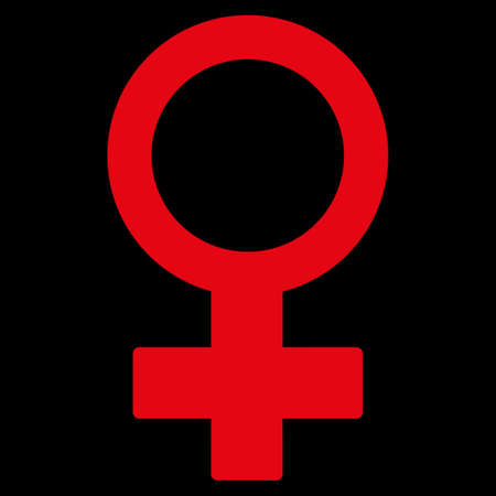 raster sex: Female Symbol raster icon. Style is flat symbol, red color, rounded angles, black background.
