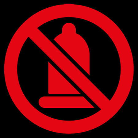 red condom: Forbidden Condom raster icon. Style is flat symbol, red color, rounded angles, black background.