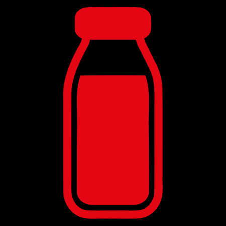 a solution tube: Full Bottle raster icon. Style is flat symbol, red color, rounded angles, black background.