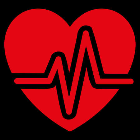heart symbol: Heart Diagram raster icon. Style is flat symbol, red color, rounded angles, black background.