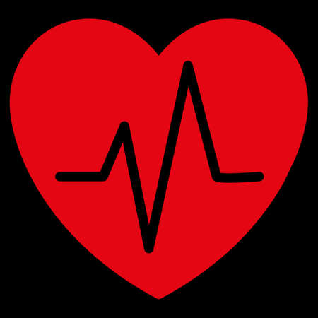 health care analytics: Heart Ekg raster icon. Style is flat symbol, red color, rounded angles, black background.