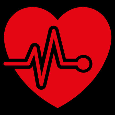 electrocardiograph: Heart Pulse raster icon. Style is flat symbol, red color, rounded angles, black background.