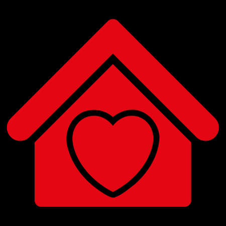 raster sex: Hospice raster icon. Style is flat symbol, red color, rounded angles, black background. Stock Photo