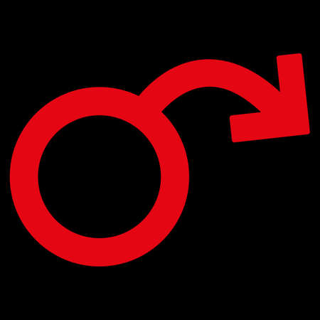 raster sex: Impotence raster icon. Style is flat symbol, red color, rounded angles, black background.