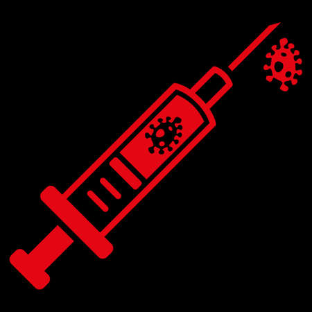goad: Infection Injection raster icon. Style is flat symbol, red color, rounded angles, black background.