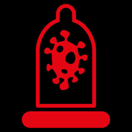 raster sex: Infection Protection raster icon. Style is flat symbol, red color, rounded angles, black background.
