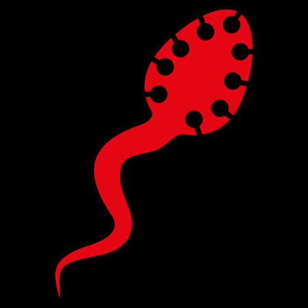 microbio: Infecciosas icono trama Microbio. El estilo es el símbolo plana, de color rojo, ángulos redondeados, fondo negro.