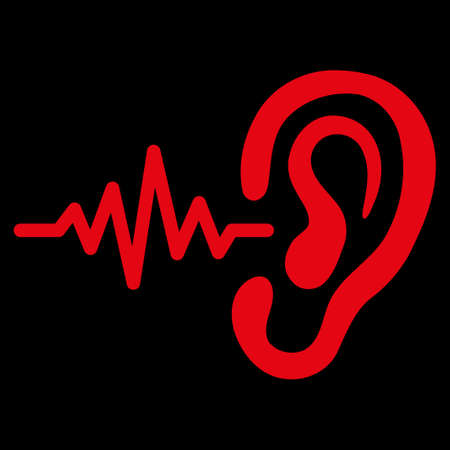 audition: Listen raster icon. Style is flat symbol, red color, rounded angles, black background.