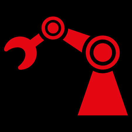 manipulator: Manipulator raster icon. Style is flat symbol, red color, rounded angles, black background. Archivio Fotografico