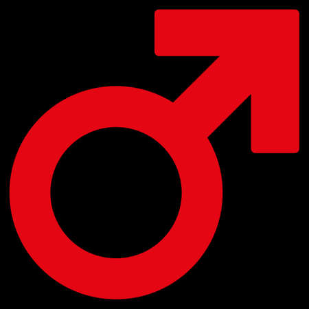 raster sex: Male Symbol raster icon. Style is flat symbol, red color, rounded angles, black background.