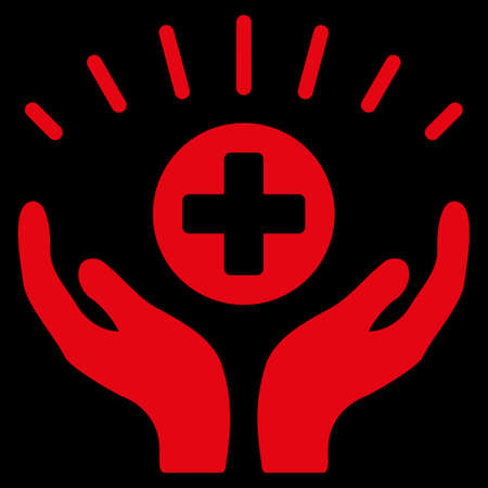 medical distribution: Medical Prosperity raster icon. Style is flat symbol, red color, rounded angles, black background.