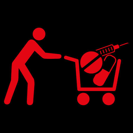 emergency cart: Medical Shopping raster icon. Style is flat symbol, red color, rounded angles, black background.