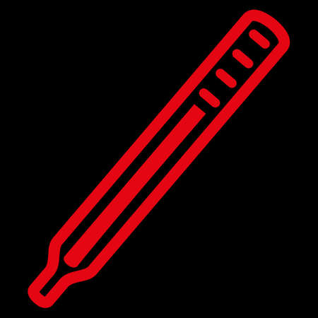 parameter: Medical Thermometer raster icon. Style is flat symbol, red color, rounded angles, black background.