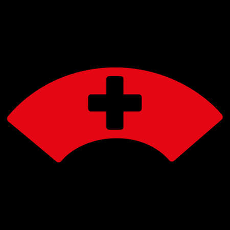 visor: Medical Visor raster icon. Style is flat symbol, red color, rounded angles, black background.