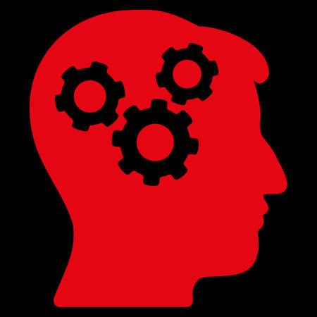 encephalon: Mind raster icon. Style is flat symbol, red color, rounded angles, black background.
