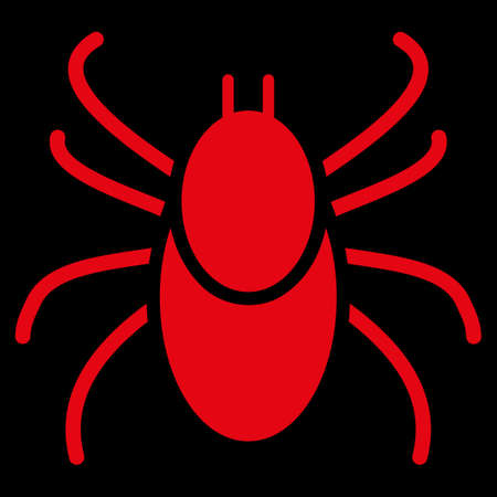 mite: Mite raster icon. Style is flat symbol, red color, rounded angles, black background.