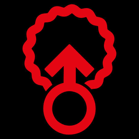 raster sex: Ovum Penetration raster icon. Style is flat symbol, red color, rounded angles, black background. Stock Photo
