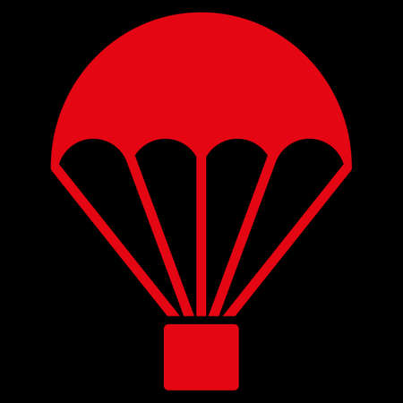 sky diving: Parachute raster icon. Style is flat symbol, red color, rounded angles, black background.