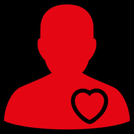 raster sex: Patient Heart raster icon. Style is flat symbol, red color, rounded angles, black background. Stock Photo