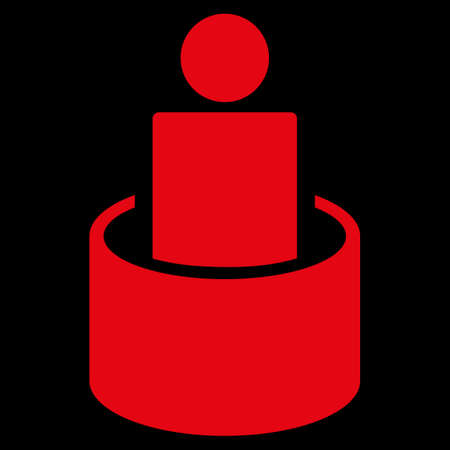 sequestration: Patient Isolation raster icon. Style is flat symbol, red color, rounded angles, black background.
