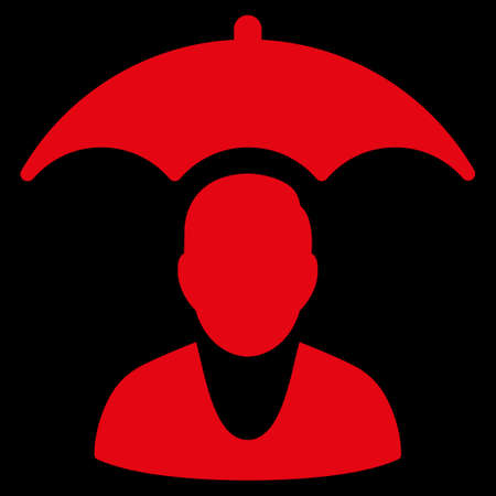 patient safety: Patient Safety raster icon. Style is flat symbol, red color, rounded angles, black background. Stock Photo