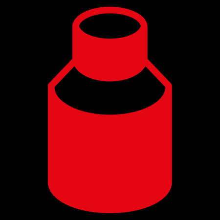 phial: Phial raster icon. Style is flat symbol, red color, rounded angles, black background. Stock Photo