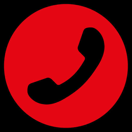 phone number: Phone Number raster icon. Style is flat symbol, red color, rounded angles, black background.